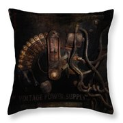 Steampunk - Electrical - Rotary Switch Throw Pillow by Mike Savad