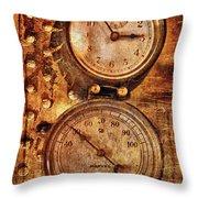 Steampunk - Gauges Throw Pillow