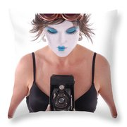 Steampunk Geisha Photographer II Throw Pillow