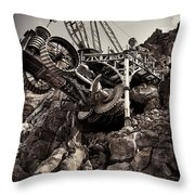 Steampunk Land Boring Machine At Disneysea Black And White Throw Pillow