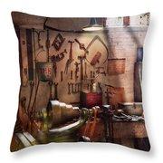 Steampunk - Machinist - The Inventors Workshop  Throw Pillow