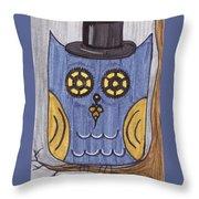 Steampunk Owl Throw Pillow