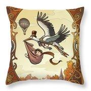 Steampunk Stork Throw Pillow