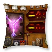 Steampunk - Temporal Flux Throw Pillow by Mike Savad