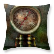 Steampunk - Train - Brake Cylinder Pressure  Throw Pillow by Mike Savad