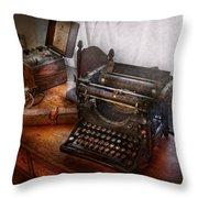 Steampunk - Typewriter - The Secret Messenger  Throw Pillow by Mike Savad