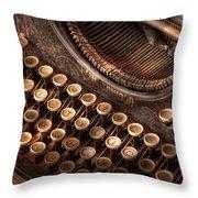 Steampunk - Typewriter - Too Tuckered To Type Throw Pillow