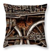 Steampunk- Wheels Locomotive Throw Pillow