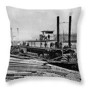 Steamships, C1864 Throw Pillow