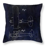 1929 Stearman Patent Drawing Blue Throw Pillow