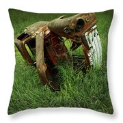 Steel Auto Carcass With Vultures Throw Pillow