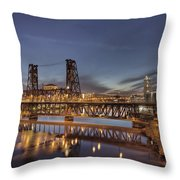 Steel Bridge Over Willamette River At Blue Hour Throw Pillow