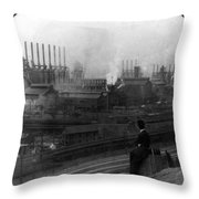 Steel Factory, C1907 Throw Pillow