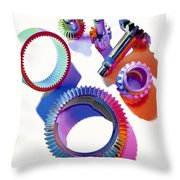Steel Gears Throw Pillow by Erich Schrempp