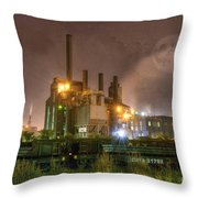 Steel Mill At Night Throw Pillow