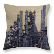 Steel Mill - Bethlehem Pa Throw Pillow by Bill Cannon