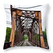 Steel Span Railroad Bridge Manayunk  Philadelphia Pa Throw Pillow