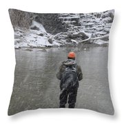 Steelhead Fishing Throw Pillow