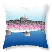 Steelhead Or Rainbow Trout Throw Pillow by Nigel Wakefield