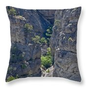 Steep Cliffs With Railroad Track Art Prints Throw Pillow