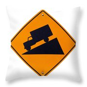 Steep Grade Hill Ahead Warning Road Sign On White Throw Pillow