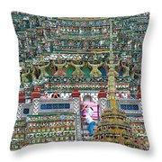 Steep Stairs Lead To Higher Level Of Temple Of The Dawn-wat Arun In Bangkok-thailand Throw Pillow