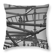 Steeple Chase In Black And White Throw Pillow