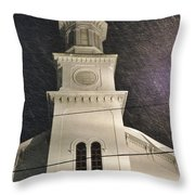 Steeple In A Snowstorm Throw Pillow