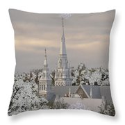 Steeples In The Snow Throw Pillow