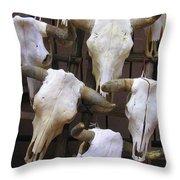 Steer Skulls  - New Mexico Throw Pillow