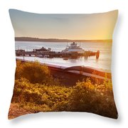 Steilacoom Ferry Dock At Sunset Throw Pillow