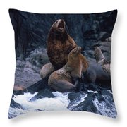 Stellar Sea Lions On The Rocks Throw Pillow