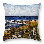 Steps To The Sea Abstract Throw Pillow by Barbara Snyder
