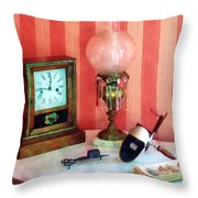 Stereopticon Lamp And Clock Throw Pillow