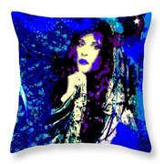 Stevie Nicks In Blue Throw Pillow