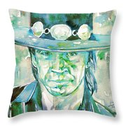 Stevie Ray Vaughan- Watercolor Portrait Throw Pillow