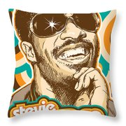 Stevie Wonder Pop Art Throw Pillow