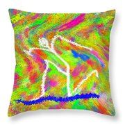 Stickman  Surfing  The  Colors Throw Pillow