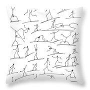Stickmen  Surfing Throw Pillow