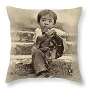 Sticky Boot Antique Sepia Throw Pillow