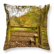 Stile In Plessey Woods Throw Pillow