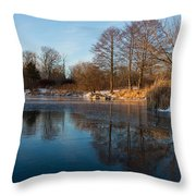 Still And Early - Icy Reflections With A Touch Of Snow Throw Pillow