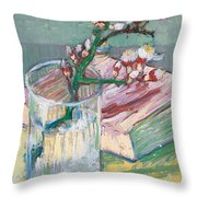 Still Life    A Flowering Almond Branch Throw Pillow by Vincent Van Gogh