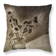 Still Life Ceramic Pitcher With Three Sunflowers Throw Pillow