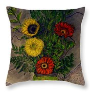 Still Life Ceramic Vase With Two Gerbera Daisy And Two Sunflowers Throw Pillow