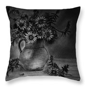 Still Life Clay Pitcher With 13 Daisies Throw Pillow