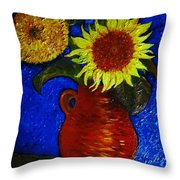 Still Life Clay Vase With Two Sunflowers Throw Pillow