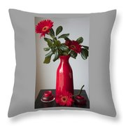 Still Life Flower Study In Red Throw Pillow