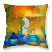 Still Life In Ocher And Blue Throw Pillow