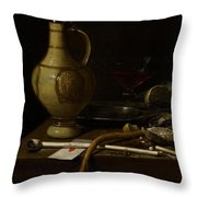 Still Life Throw Pillow by Jan Jansz van de Velde